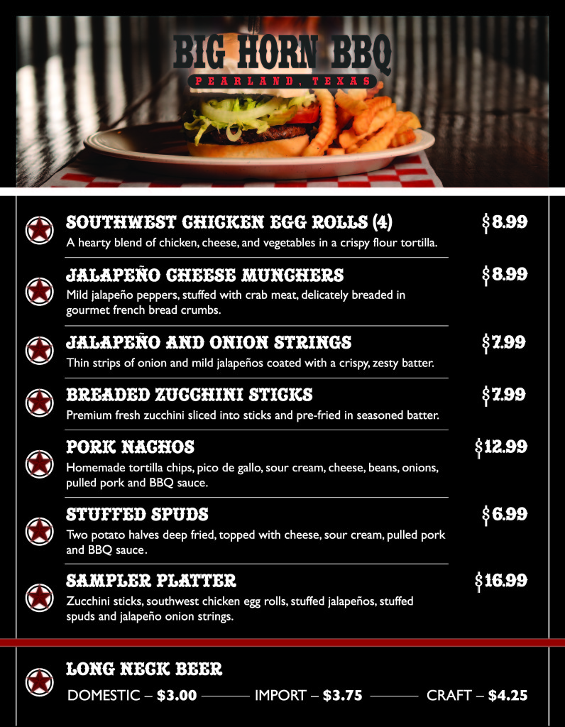 Big Horn BBQ Bar Menu